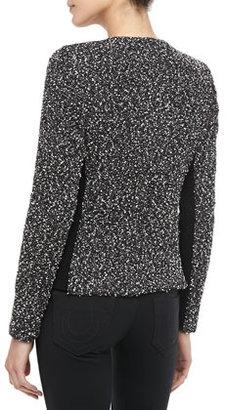Rebecca Taylor Snowflake Front-Zip Tweed Jacket