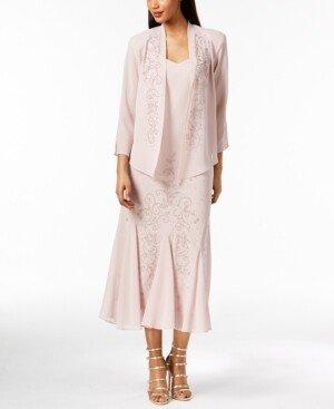 R & M Richards Sleeveless Beaded V-Neck Dress and Jacket