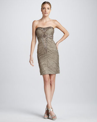 Sue Wong Beaded Strapless Cocktail Dress