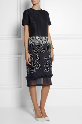 Michael Van Der Ham Embroidered brocade and silk-georgette dress