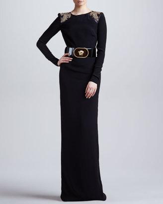 Versace Patent Leather Belt, Black