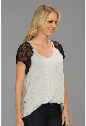 Michael Stars V-Neck Tee With Lace Sleeves
