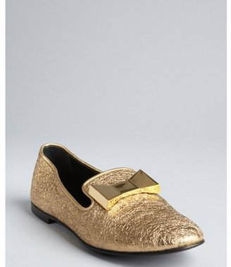 Giuseppe Zanotti gold crinkled leather metal bow detailed loafers
