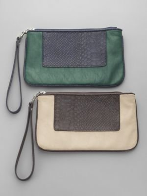 New York & Co. Faux Snake Colorblock Wristlet