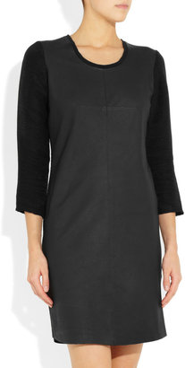 Raquel Allegra Leather and ribbed cotton-blend dress