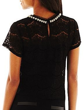 JCPenney Bisou Bisou® Embroidered Lace Cropped Top