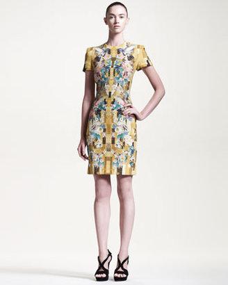 Alexander McQueen Hummingbird-Print Cady Dress