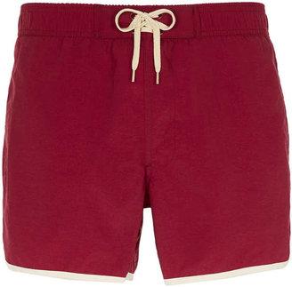 Topman Burgundy Piped Swim Shorts