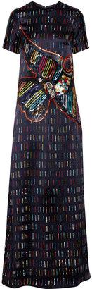 Suno Beaded silk maxi dress