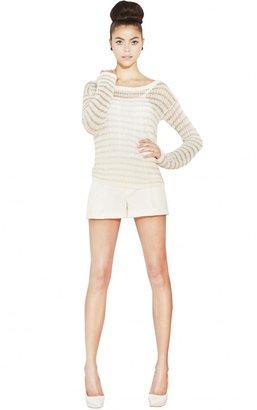 Alice + Olivia Metallic Stripe Ethan Boxy Sweater