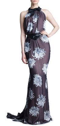 Carolina Herrera Dahlia Devore Silk Gown, Black/Blue/Multicolor