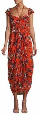 Diane von Furstenberg Floral Draped Maxi Dress