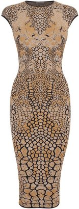 Alexander McQueen Black/Gold Dragonfly Wings Jacquard Pencil Dress