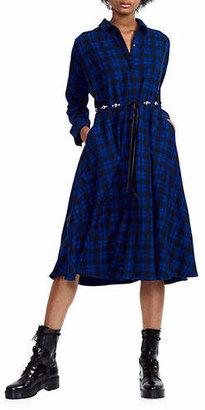 Maje Rebel Tartan Midi Dress