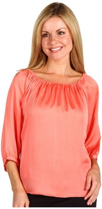Anne Klein Petite - Petite Off Shoulder Blouse (Papaya) - Apparel