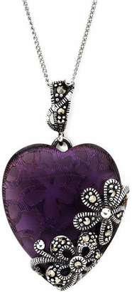 Glass Heart FINE JEWELRY Marcasite and Sterling Silver Pendant Necklace