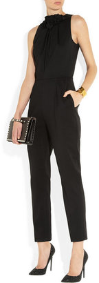 Valentino Rose-detailed stretch-wool crepe jumpsuit
