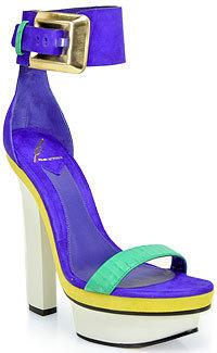 Brian Atwood B by Braganca - Purple Color Block Platform Sandal