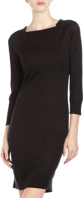 Neiman Marcus Cashmere Boat-Neck Knit Dress, Black