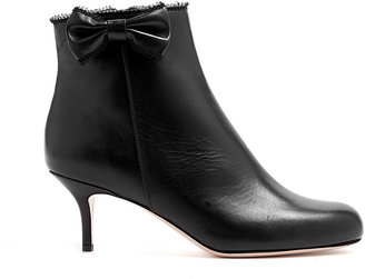 RED Valentino Leather Bow Kitten Heel Ankle Boots