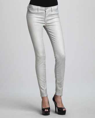 J Brand Jeans Coated Metallic Jeggings, Stone Bullet