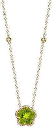 Kiki McDonough Grace Flower Green Peridot & Diamond Necklace