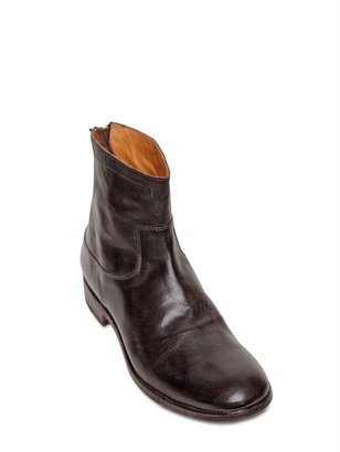 Shoto 30mm Back Zip Leather Low Boots