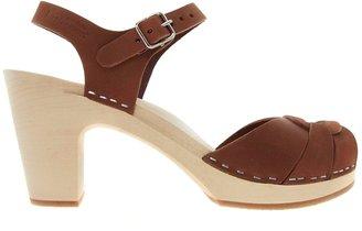 Swedish Hasbeens Peep Toe Super High Cognac Heeled Sandals