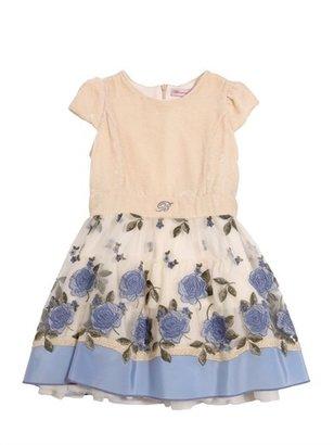 Miss Blumarine Velvet & Embroidered Tulle Dress