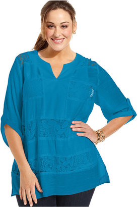 Amy Byer Plus Size Top, Three-Quarter-Sleeve Crochet Tunic
