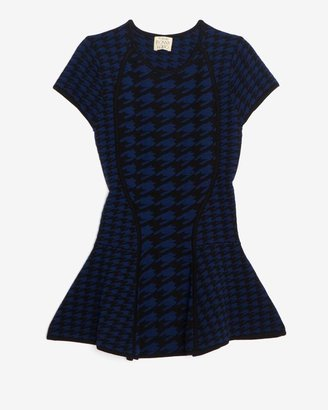 Torn By Ronny Kobo Houndstooth Peplum Top