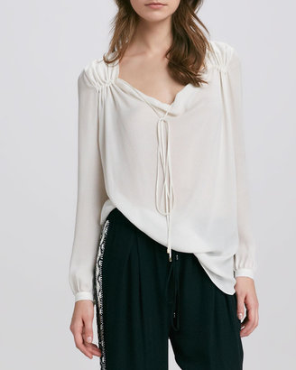 Haute Hippie Gypsy Tie-Neck Blouse, Swan