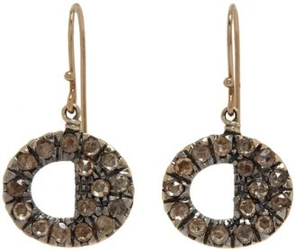 Fabrizio Riva Brown Diamond Cut-Out Circle Drop Earrings-Colorless