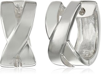 """Zina Sterling Silver """"Contemporary Collection"""" X-Snap Hoop Earrings"""