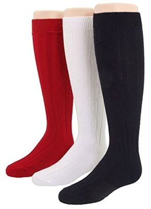 Jefferies Socks 6-Pack Acrylic Cable Knee High (Toddler/Little Kid/Big Kid) (Red/Navy/White) Girls Shoes