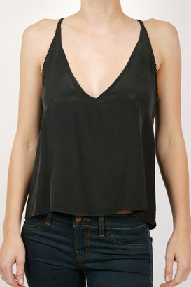 Twelfth St. By Cynthia Vincent Lace Back Tank Top - Black