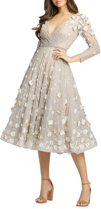 Mac Duggal Long-Sleeve Floral Applique Embellished Lace Midi Dress