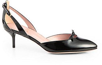 Gucci Patent Leather Cutout Bow Pumps