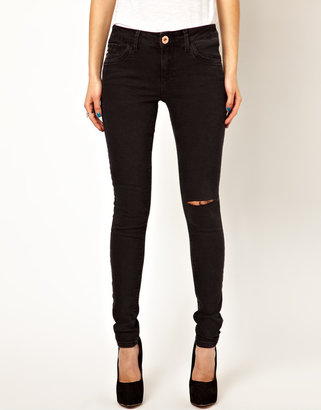 River Island Amelie Super Skinny In Washed Black