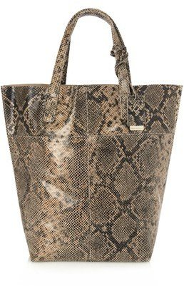 French Connection Snake Raw Leather Shopper