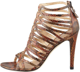 Stuart Weitzman Loops Strappy Python-Embossed Leather Sandal