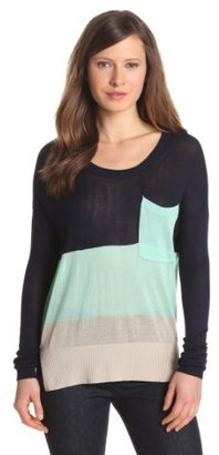 LAmade Women's Color Block Viscose Long Sleeve Scoop Neck Pocket Sweater