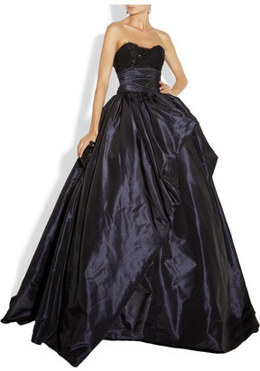 Marchesa Embellished lace and silk-taffeta gown