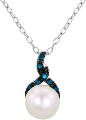 FINE JEWELRY Cultured Freshwater Pearl & Color-Enhanced Blue Diamond Pendant Necklace