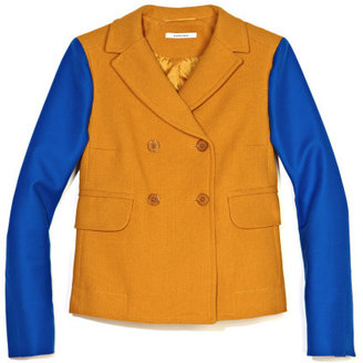 Carven Netted Cotton Color Block Jacket