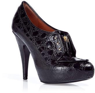 Givenchy Black Embossed Leather Platform Pumps