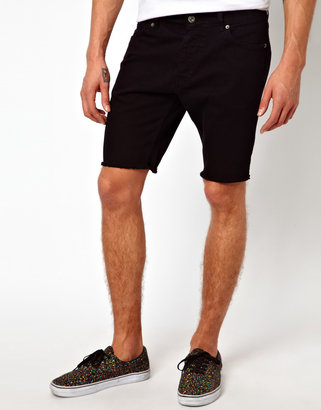 Asos Denim Shorts With Raw Edge