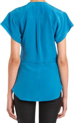 Derek Lam Short Sleeve Crossover V-Neck Blouse