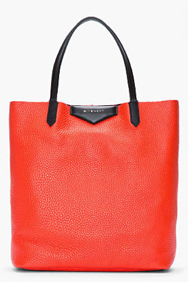 Givenchy Poppy red pebbled leather Vertical Antigona Shopper tote