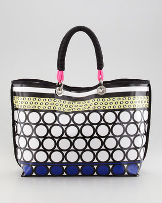 Milly Coated Canvas Tote Bag, Pink/Multicolor